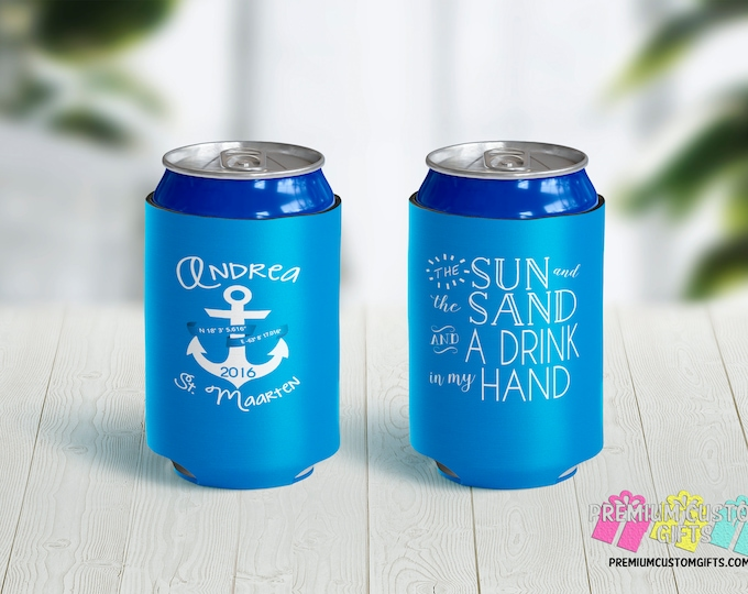 Sun and Sand and A Drink In My Hand Personalized Can Coolers - Custom Can Coolers - Monogrammed Can Coolers - Bachelorette Can Coolers