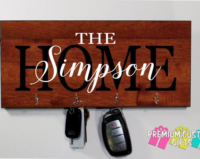 Personalize Wall Mount Key Rack - Perfect Wedding gift - MDF Wood Look Wall Key Hanger - Housewarming Gift - Anniversary - Design #KH170
