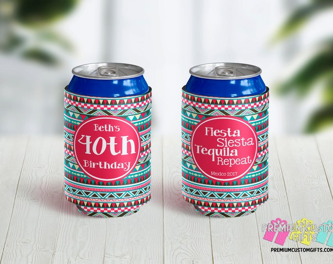 Fiesta Siesta Tequila Can Coolers - Vacation Can Coolers - Birthday Coolers - Bachelorette Can Coolers - Custom Can Coolies - 40th Birthday