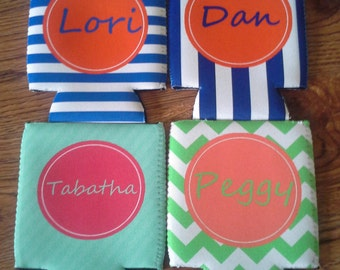 Monogrammed Personalized Can Coolers - Design Your Own