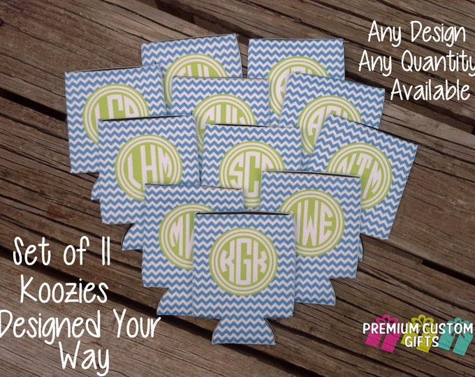 Set of 11 Can Coolers - Personalized Can Cooler - Custom KOOZIE ® - Bachelor - Bachelorette - Vacation - Wedding - KOOZIE ® or Neoprene