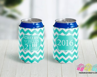 Cheers and Beers to 21 Years Custom Can Coolers - 21st Birthday Party Can Coolers - Custom Can Coolers - Destination Can Coolies - Beer Can