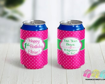 Personalized 1st Birthday Can Coolers - Personalized Can Cooler - Birthday Party Favors - Can Coolies -  Custom Party Favors - Monogram Gift