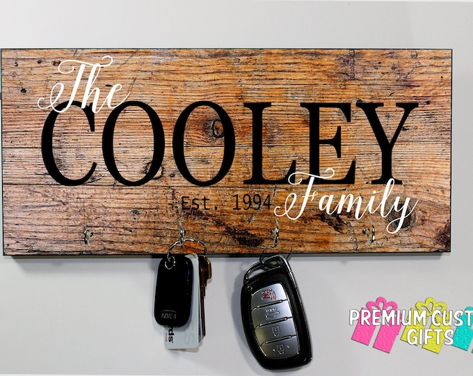 Custom Key Holder - Personalize Wedding gift - Personalized MDF Wood Look Wall Key Rack - Housewarming Gift - Anniversary - Design #KH169