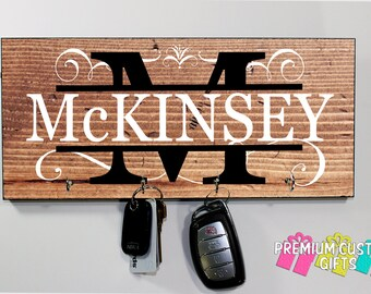 Personalized Family Name - Key Holder - Personalize Wedding gift - Made of MDF - Holiday Gift - Anniversary - grand parent - Design #KH141