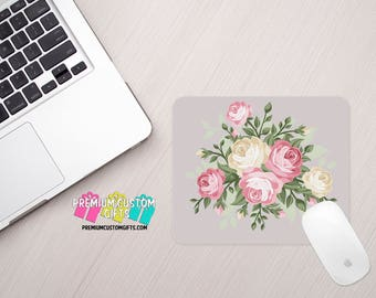Flowers Mouse Pad - Floral Mouse Pad - Personalized Mouse Pad - Custom Mouse Pad - Office Gift - Computer Desk - Personalized Gift