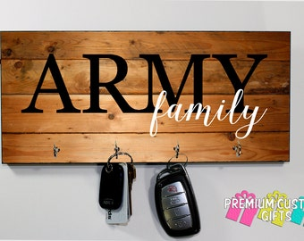 Army Family Personalized Wooden Key Hanger - Military Key Hanger - MDF Wooden Wall Key Rack - Choose Your Wood Look Background Design #KH191