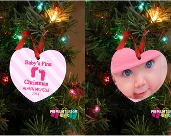Baby's First Christmas Ornament - Design Your Way - New Parent Gift - Baby Shower Gift - Christmas Gift- Double Sided Design #OR107