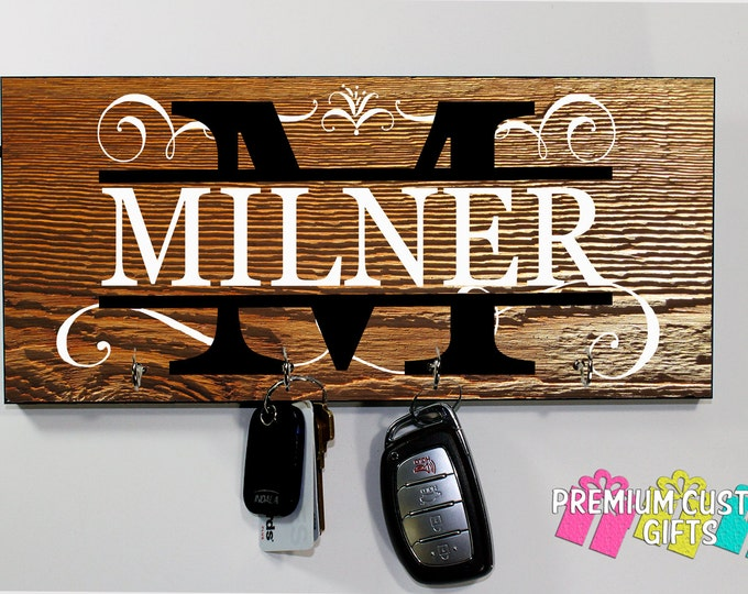 Personalized Family Name Key Hanger Made of MDF - Key Holder - Personalize For Wedding - Holiday - Anniversary - Gift - Design #KH130
