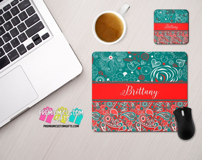 Personalized MousePad and Coaster Set - Personalized Desk Set - Monogram Mouse Pad - Teacher Gift - Custom Coaster - Pesonalized Mouse Pad