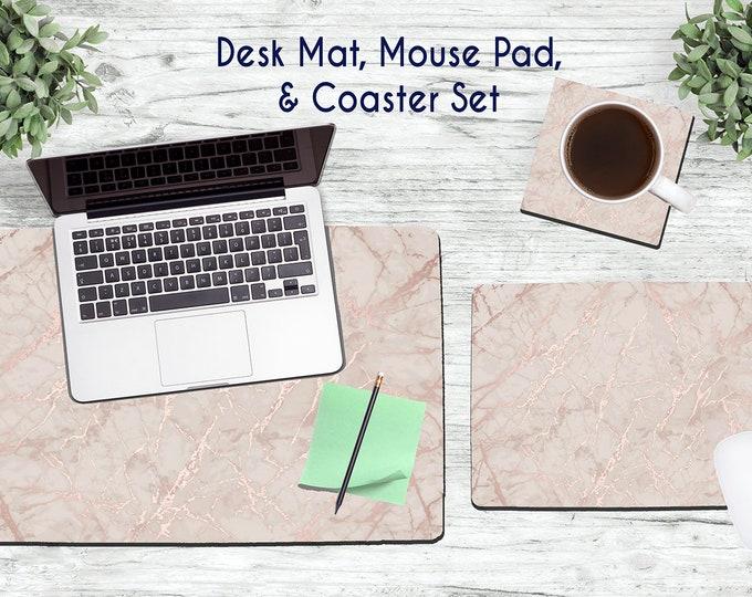 Dusty Rose Marble Desk Set - Desk Accessories - Mouse Pad - Desk Mat - Coaster - Monogram Mouse Pad - Custom Mouse Pad -  Office Desk Set