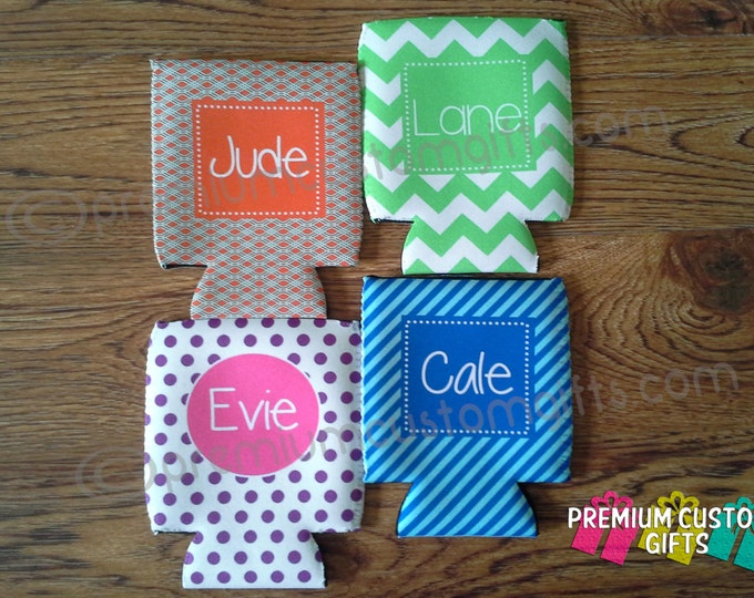 Set of 4 Monogrammed Coolers - Personalized Can Coolers - Vacation Can Coolies - Bachelorette Party - Wedding Party Favors - Bachelor Party