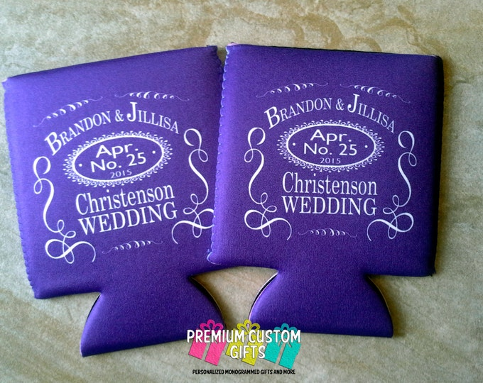 Personalized Wedding Can Coolers - Custom Wedding Coolies - Personalized Bachelorette Can coolers - Beverage Insulators - Wedding Favors