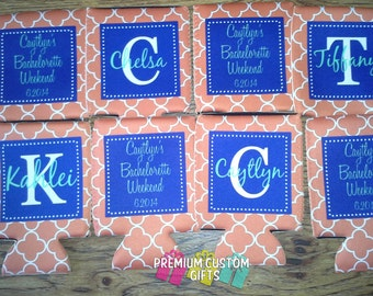 8 Custom Personalized Can Coolers  - Wedding Favors -Monogrammed Can coolers - Bachelorette Can Coolers - Vacation Can Coolers - Can Coolies