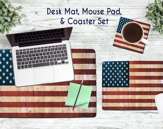 Rustic American Flag Desk Set - Desk Accessories - Mouse Pad - Desk Mat - Coaster - Monogram Mouse Pad - USA Flag  -  Office Desk Set