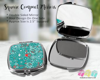 Fun Design Compact Mirror - Bachelorette Gift - Wedding Party Gift - Coach Gift - Teacher Gift - Graduation - Purse Compact - Custom Mirror