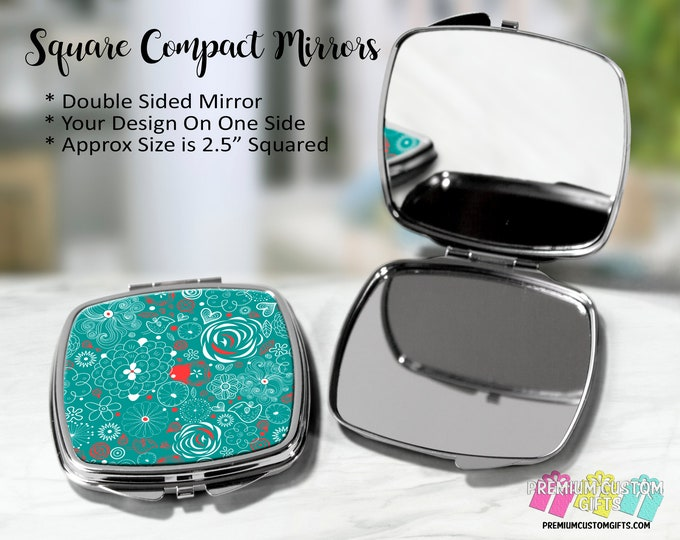 Fun Design Compact Mirror - Bachelorette Gift - Wedding Party Gift - Coach Gift - Teacher Gift - Graduation - Purse Compact - Custom Mirror