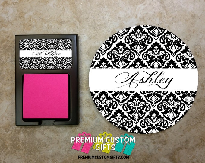 Round Mouse Pad & Matching Sticky Note Holder Desk Set - Custom Co-Worker Gift Set - Personalized Note Holder and Mousepad - Design #MPSH107