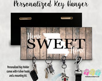 Personalized Home Sweet Home With State Key Holder- Wedding Gift - Anniversary Gift - Key Hanger - Housewarming Gift - Personalized Gift