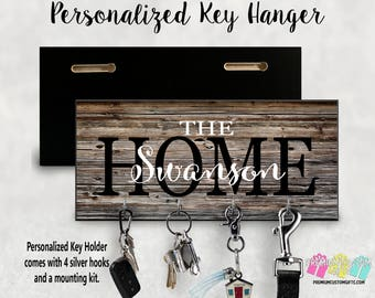 Family Home Custom Wall Key Hanger - Personalized Key Holder - Made Of MDF Wall Key Hanger - Housewarming Gift - Wedding Gift - Wall Mount