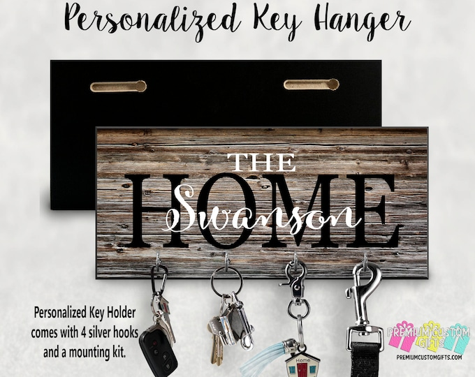 Family Home Custom Wall Key Hanger Made OF MDF - Wall Key Holder Great for Housewarming Gift - Wedding Gift - Wall Mounted Custom Holder