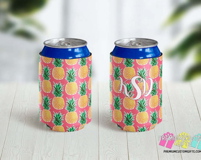 Pineapple Monogram Can Coolers - Personalized Can Coolies - Beach Vacation Beer Can Coolers - Birthday Coolies - Vacation Can Coolers