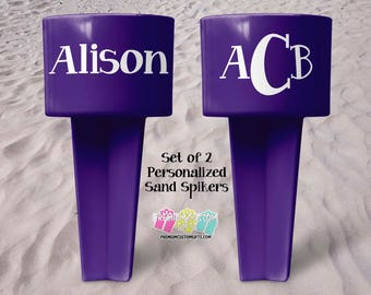 Personalized Vacation Sand Spiker - Beach Sand Spiker - Monogrammed Beach Cup Holder - Custom Beach Cup Holder - Valentine's Day Gift