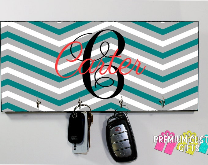 Monogrammed Chevron Key Hanger - Wedding, Holiday, and Anniversary Gift - Personalized MDF Key Holder - Housewarming Gift - Design #KH148