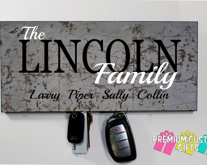 Family Name Slate Look Wall Keyholder- Personalized Wall Rack Key Hanger- Anniversary - Housewarming Gift - Design #KH201