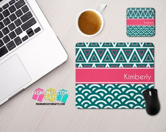 Personalized Mouse Pad and Coaster Set - Personalized Office Desk Set - Monogram Mouse Pad - Teacher Appreciation Gift - Office Gift
