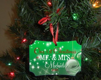 Our First Christmas Ornament - Mr and Mrs Gift - Christmas - Newlywed Gift - Double Sided Design #OR118