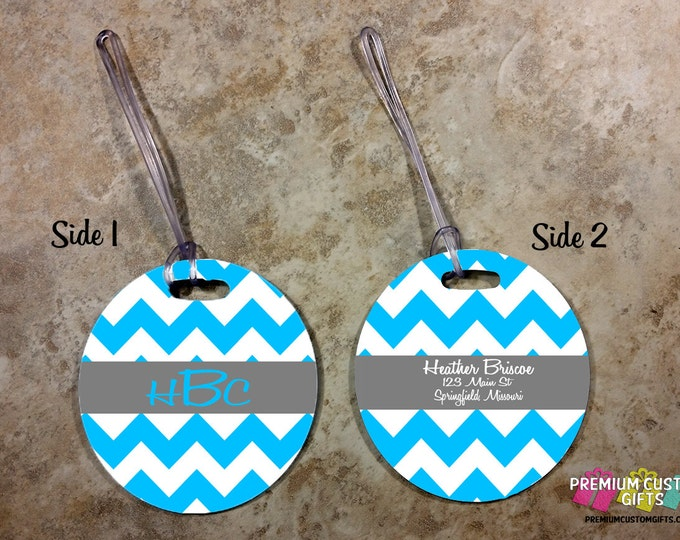 Round Monogram Bag Tag - Luggage Tag - Travel Luggage Tag - Family Bag Tags - Laptop Bag Custom Tag - Personalized Tag - Design #BT103