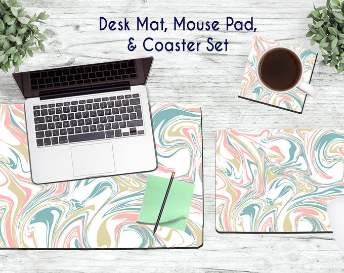 Multi-Colored Marble Desk Set - Desk Accessories - Mouse Pad - Desk Mat - Coaster - Monogram Mouse Pad - Rose Gold Set -  Office Desk Set