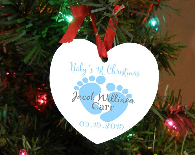 Baby's 1st Christmas Ornament - Monogrammed Ornament - Double Sided Aluminum - Baby Feet and Name - Design #OR103