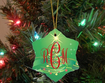 Christmas Ornament - Monogrammed Ornament - Double Sided Ceramic Ornament - Wedding Gift - Christmas Gift - Engagement Gift Design #OR114