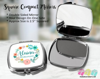 Personalized Bridesmaid Compact Mirror - Bridal Party Gifts - Wedding Party Gifts - Custom Pocket Mirror - Double Mirror - Compact Mirror