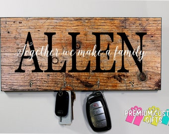 Wood Look Name Wall Mount Key Holder - Perfect Wedding gift - MDF Wall Key Hanger - Housewarming Gift - Anniversary - Design #KH172