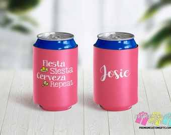 Fiesta Siesta Cerveza Repeat Can Coolers - Personalized Can Coolies - Monogrammed Beer Can Cooler - Vacation Coolers - Mexico Can Coolers