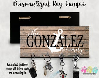 Family Name with Anchor Wall Key Hanger Personalized With Your Name - Wall Mount Key Holder Made Of MDF Housewarming - Wedding Gift