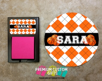 Personalized Basketball Desk Set - Monogram Mouse Pad - Monogram Sticky Note Holder - Custom Coach Gift - Custom Desk Set - Design #MPSH106