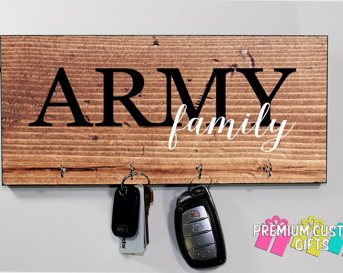 Custom Key Holder Army Family - Military Branch Key Hanger - MDF Wooden Wall Key Rack - Choose Your Wood Look Background Design #KH217