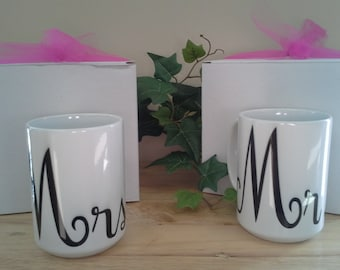 Mr. and Mrs. Ceramic Mug Set 11oz and 15 oz Mugs | Wedding Gift, Bridal Shower, Anniversaries, and More! Comes With Gift Boxes