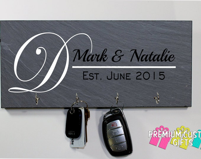 Family Name Slate Look Wall Keyholder- on MDF - Personalized Wall Rack Key Hanger- Anniversary - Housewarming Gift - Design #KH186