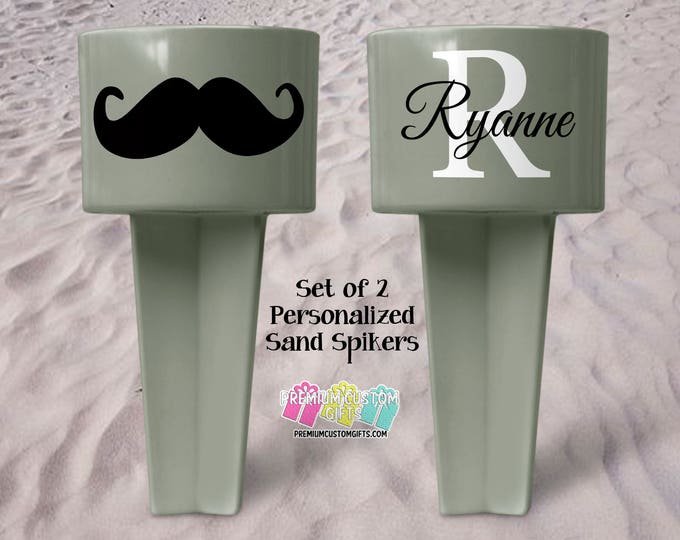 Set of 2 Monogram Sand Spiker - Beach Sand Spiker - Monogrammed Beach Cup Holder - Custom Beach Cup Holder - Valentine's Day - Drink Holder