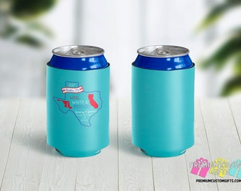 Wedding Party Can Coolers - Birthday Party Can Coolers - Personalized Can Coolies - Monogrammed Beer Can Coolers - State Design Coolers