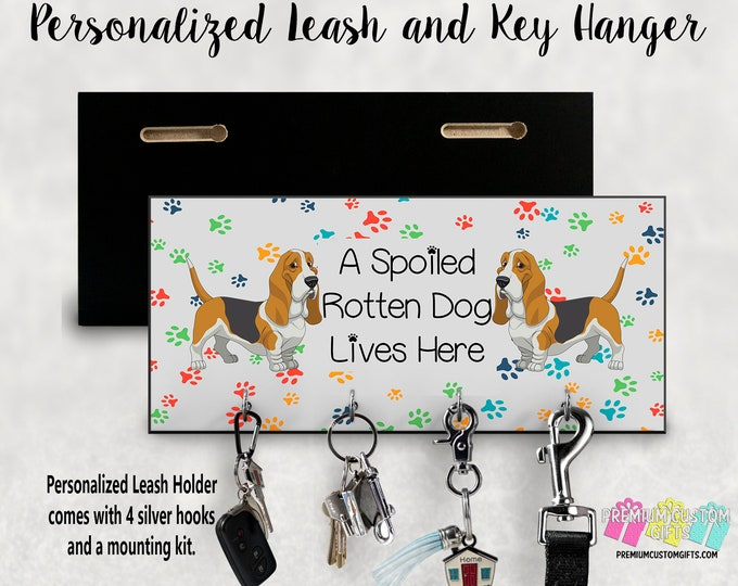 A Spoiled Pet Lives Here Leash Holder - MDF Wall Mount Leash Holder For Dogs - Cats - Pets of All Kinds - Basset Hound Themed - Personalized
