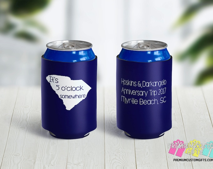 Anniversary Party Can Coolers - Birthday Party Can Coolers - Personalized Can Coolies - Monogrammed Beer Can Coolers - State Design Coolers