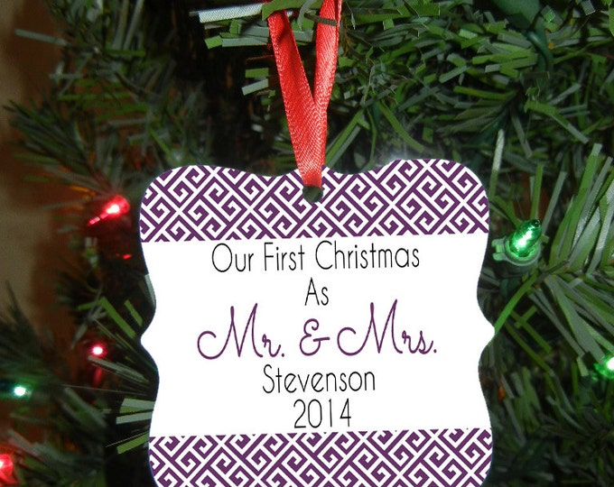 Mr. and Mrs. Christmas Ornament - Our First Christmas Ornament - Newlywed Gift - Wedding Gift - Christmas Gift Design #OR105