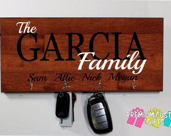 Wood Key Hanger Personalized With Your Choice Of Wooden Look Background Family Key Holder For Wall - Made of MDF Design #KH188