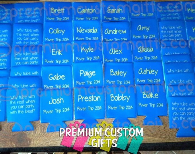 Float Trip Can Coolers - Personalized Can Coolers For Vacations - Gatherings - Parties And More - Fun Designs Available